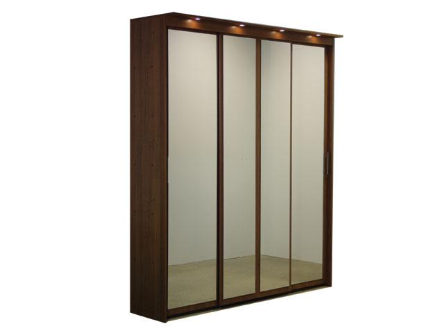 Шкаф-купе 4х дверный с 4 зеркальными дверями